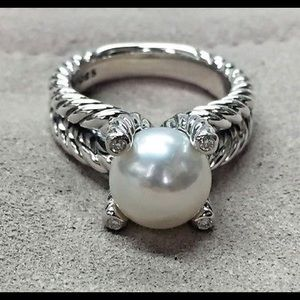 David Thurman pearl diamond ring size 9